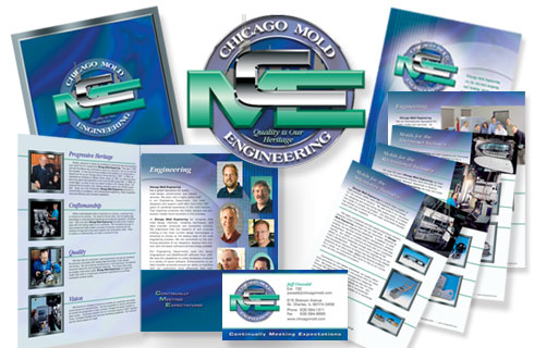Chicago Mold Engineering - Logo | Folder | Flyers | Business Cards